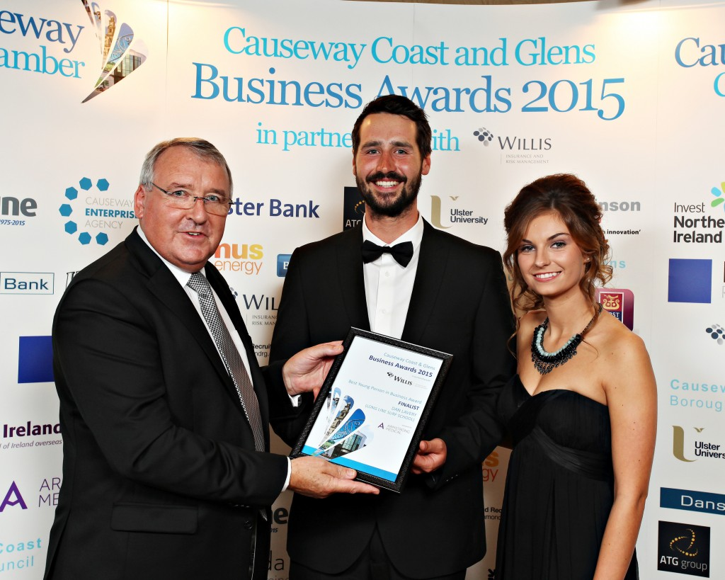 Best Young Person in Business Award finalist at the Causeway Coast and Glens Business Awards 2015  presented by John Armstrong of Armstrong Medical to Dan Lavery and Rebekah January of Longline Surf School.   106  Business Awards 2015